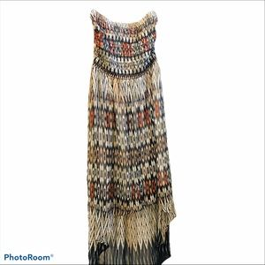 Bebe Bandeau Maxi High Low Dress with Tribal Print